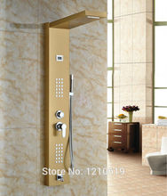Newly Ti-gold Plate Luxury Shower Column Massage Shower Panel Stainless Steel Shower Faucet w/ Hand Shower