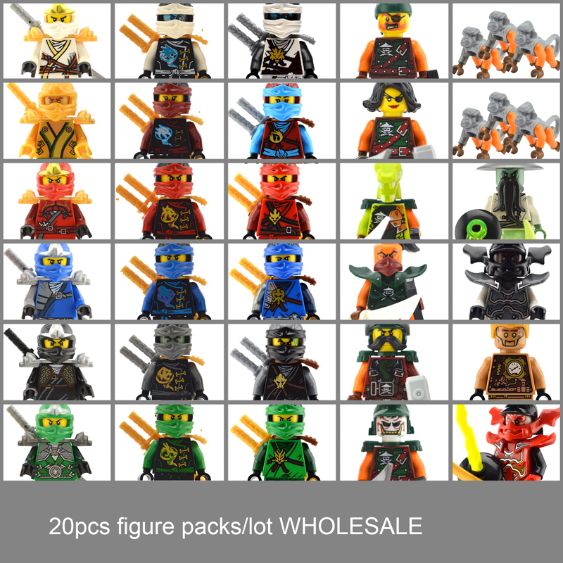 20PCS//LOT Ninjagoed Figure Set Ninja Golden Jay Kai Zane Lloyd Nya Model Block
