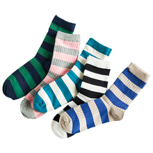 Contrast Color Stripe In Tube Casual Cotton Socks For Women Fashion Korea Style Harajuku Male Sock Autumn Winter Sox 5 Colors
