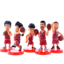 WEYA 5Pcs/set Anime Slam Dunk With Base PVC Action Figures Dolls Basketball Toy Model Gifts For Boy&Kids Sakuragi Hanamichi(China)