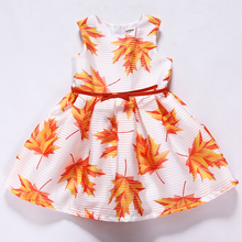 Latest Dress Girls Dress Sleeveless 2017 Brand Princess Dress Girl Maple Leaf Painting Kids Dresses for Girls Clothes