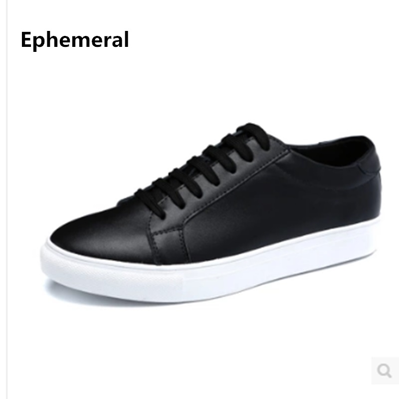Unisex Cheap Men brand  Designer Genuine authentic leather Plus size 47 Platform Single Casual Lace up Loafers Kvoll Black White<br>