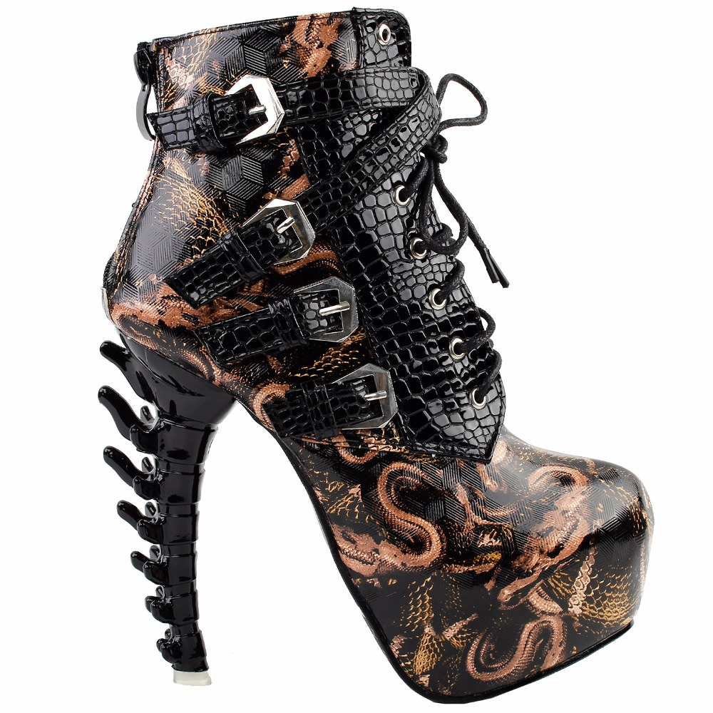 LF80648 Sexy Punk Design Brown Snake Pattern Bone High Heel Platform Ankle Boots Black<br>