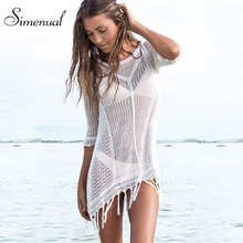 Buy Tassel sexy hot knitted summer dress swimwear 2016 solid slim white beach output mini dresses ladies fringe hollow pareos for $13.99 in AliExpress store