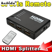 kebidu Mini 5 Port HDMI Switch Switcher HDMI Splitter HUB with IR Remote Control IR Receiver Cable for Xbox 360 HD 1080P Video