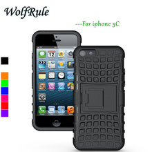 WolfRule For Case Apple iphone 5C Cover Soft Silicone + Hard Plastic Case For Apple iPhone 5C Case Holder Stand Armor Fundas <
