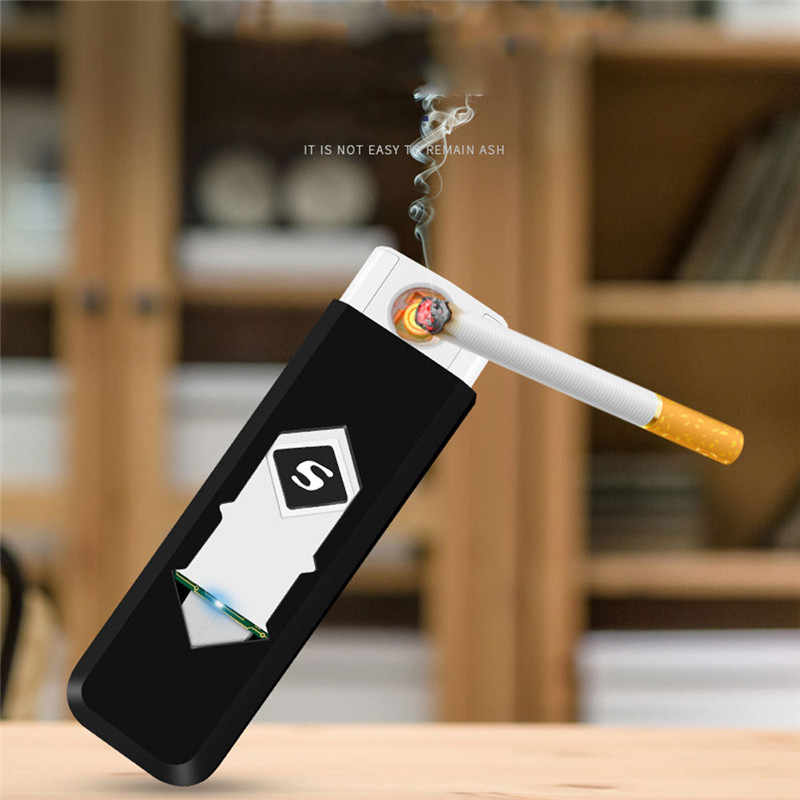 Rechargeable USB Windproof Flameless Electric Electronic Charging Cigarette Lighter Smokeless Super Lighters Man A