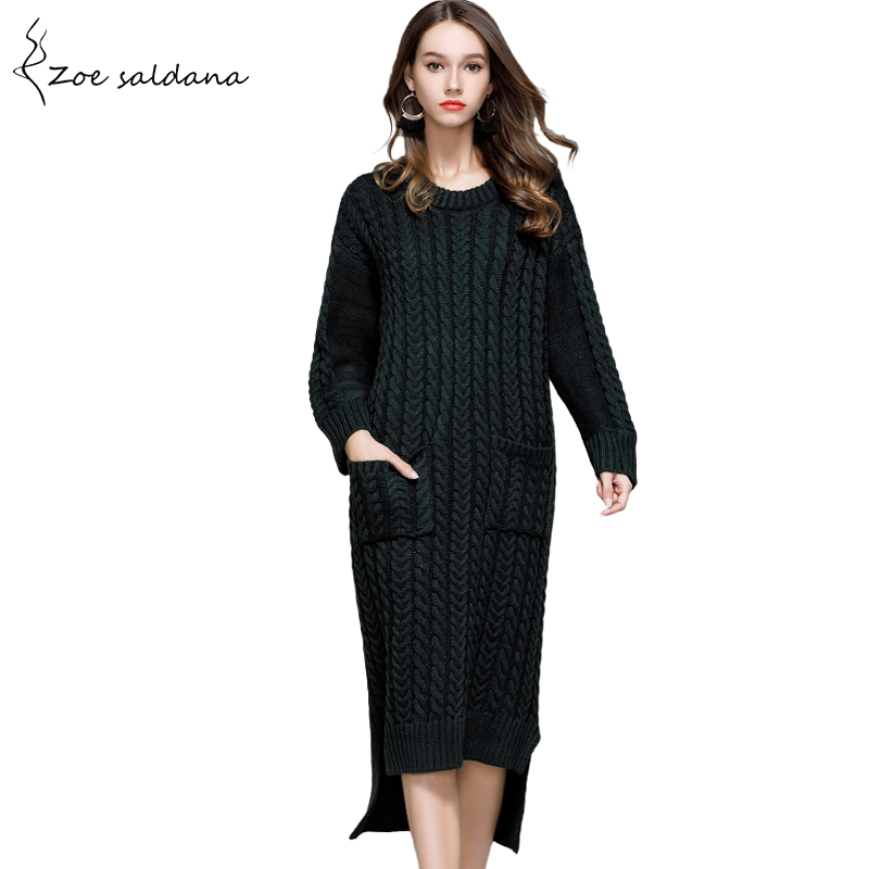 Zoe Saldana 2018 Women Autumn Winter Sweater Dresses Vintage Twist Pockets Solid Knitted Maix DressÎäåæäà è àêñåññóàðû<br><br>