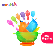 Munchkin baby tableware set free shipping Stay Put Suction Bowl 3 Count silicone spoon 6 Count(China)