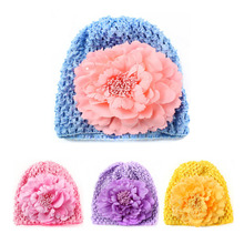 Cute Flower Baby Hats for Girls Candy Color Elastic Knit Baby Girl Cap Newborn Photography Props 1 PC(China)