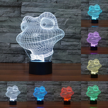 3D Night Lamp Led 7 color changing Table Light Frog Touch Button Night Light LED lamp Christmas gifts IY803537