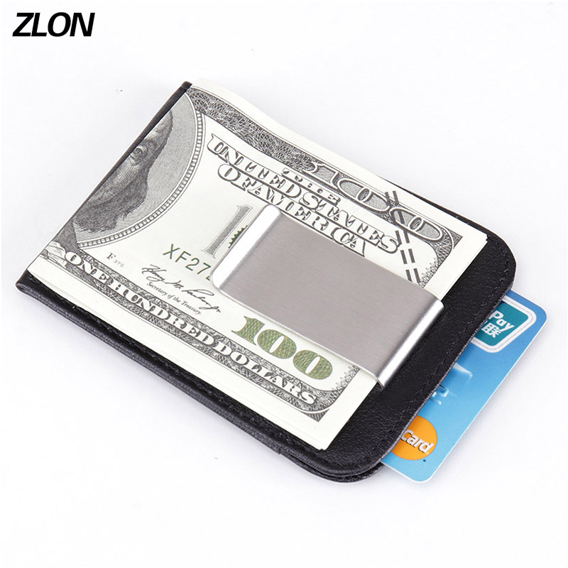 Fashion New RFID Men Genuine Leather Fashiom Wallet Business Casual Credit Card ID Holder Strong Magnet Money Clip K105