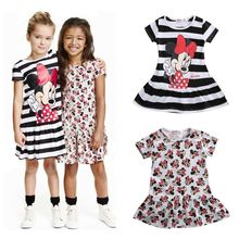 Children Girls Dresses Cute Children Baby Girls Clothes Minnie Mouse Cartoon Dress Clothing Summer Mini Short Dress Clothes 2-7Y