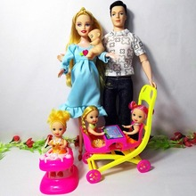 Toys Family 6 People Dolls Suits 1Mom /1Dad/3 Little Kelly Girl /1 Baby Son/2 Baby Carriage for barbie, Real Pregnant Doll Gifts(China)
