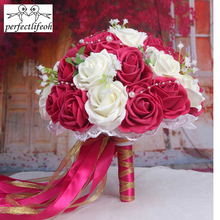 Burgundy/Red wine Handmade Flowers Decorative Artificial Rose Flowers Pearls Bride Bridal Lace Accents wedding brides bouquet br(China)