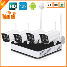 Wireless IP Camera System Kit 4CH 720P /960P P2P Wifi IP Camera CCTV System With Wifi NVR + 4 PCS Wireless IP Camera IP67 Metal