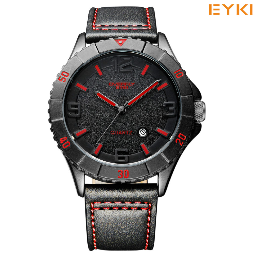 EYKI Brand Mens Sport Watches Japanese Movement Waterproof Leather Strap Quartz Watch Hour Date Calendar Watch Relojes Hombre<br>