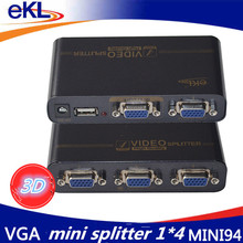 EKL VGA Splitter 4 ports VGA Video splitter 350MHZ 1 input 2 output support USB power adaptor