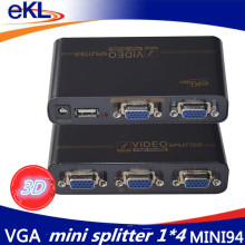EKL VGA Splitter 4 ports VGA Video splitter 350MHZ 1 input 2 output support USB power adaptor(China)