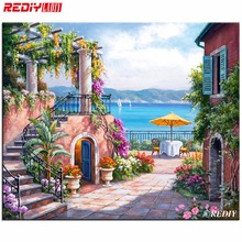 DIY Diamond Painting 5D Diamond Embroidery Tuscan Terrace Decorative Pictures Of Rhinestones Hobbies and Crafts Home Decoration