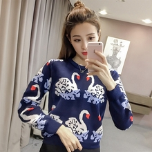 New Sweater Women Swan Color Block Pullover Knitting Autumn Winter Preppy Style Sweet Sweater Jumper Outwear C7N303(China)