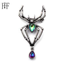 Fashion Charms Crystal Glass Spider Brooch Vintage Punk Halloween gift Cosplay Jewelry brooch Badges on the collar Animal Brooch(China)