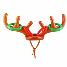CCINEE 50PC Christmas Toy Children Kids Inflatable Santa Funny Reindeer Antler Hat Ring Toss Christmas Holiday Party Free EMS
