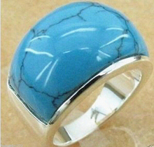hot sale FREE SHIPPING  Fashion Men's Large 925 Sterling Silver Blue Jades Ring Size 7/8/9/10