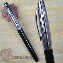 BAOER 100 BLACK AND SILVER CAYMAN MOUTH FINE NIB FOUNTAIN PEN