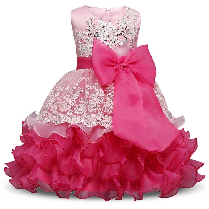 Baby Girl Birthday party dresses layered dress flower girls dress Big Bow rose red ropa de ninas Wedding vestido infantil festa<br>