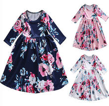 NEW!!Baby Girl Boho Long Foral Dress  Toddler Kids Princess Party Prom Beach Maxi Dress