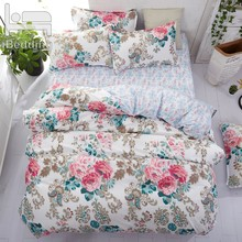 Home Bedding Flower Bedding Set 3/4pcs Bed Linen Summer Duvet Cover Set Elegant Wedding Bed Set Home Decor Pastoral Flat Sheet(China)