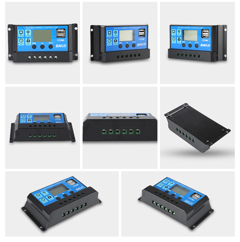 EASUN POWER Solar Controller 12V 24V 30A 20A 10A Solar Regulator PWM Solar Panel Battery Charger LCD Display Dual USB 5V Output DES-13