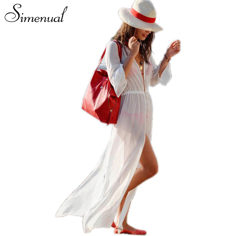 Sexy hot summer beach long dress 2016 casual new slim solid chiffon dresses output swimwear hollow women pareos cardigan