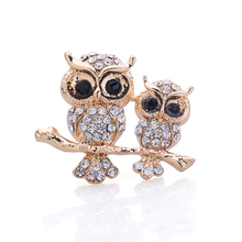 OneckOha Fashion Jewelry Brooches Rhinestone Double Owl Brooch Pin Animal Owl Brooches Birthday Gift(China)