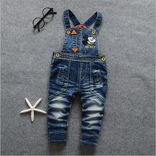Autumn Winter Fashion Mickey Minnie Baby Boys And Girls Bib Pants Children Denim Overalls Trousers Kids Cartoon Mouse Jeans
