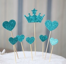 Teal Heart and  Crown Cake Toppers  Princess Tiara Party Picks, Food Picks, Weddings, Bridal/Baby Shower