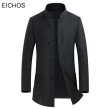 EICHOS 2017 Autumn Cashmere Coat Man High Quality Handmade Double-sided Wool Jacket Men Slim Stand Collar Wool Overcoat NZY006(China)