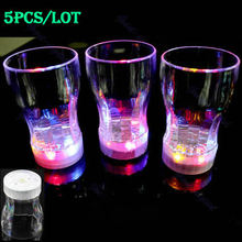 E74 On Sale 5pcs Small 6 LED Light Flashing Decorative Beer Mug Drink Cup For Parties Wedding Clubs Drop Shipping