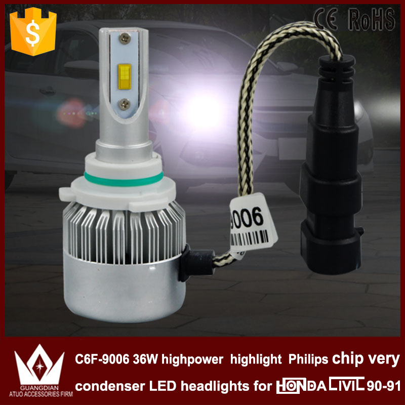 Guang Dian car led light Headlight Head lamp DIPPED BEAM Low Beam C6F 6000K white 12V 36W 9006 HB4 Fit for civic 1990-1991 only<br><br>Aliexpress