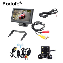 "Wireless 4.3""Car Rear View Monitor Parking System with Waterproof 4Led light Night Vision for Backup Rearview Camera Car-styling"