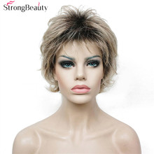 Strong Beauty Short Body Wave Wig Ombre Black to Blonde Wigs Synthetic Hair For African Amrican Woman(China)
