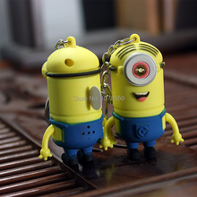Despicable Me 02 voiced LED flashlight key chain car lovers gift phone bag pendant ornaments Creative toys Novelty Lighting