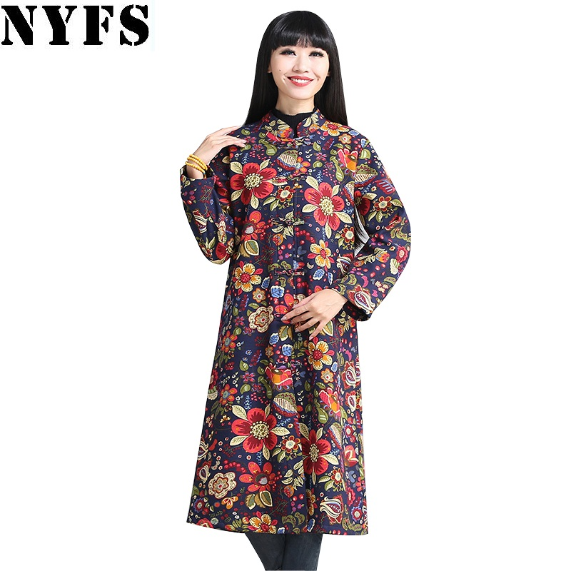 NYFS 2017 New Winter National wind Warm Coats Plus velvet thickening slim Print Cotton Jacket WindcoatÎäåæäà è àêñåññóàðû<br><br>
