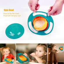 pudcoco Hot Sale Creative Gyroscope Baby Bowl Non Spill Feeding Toddler Gyro Cereal Bowl 360 Rotating Kids Avoid Food Spilling(China)