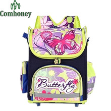 Girls Butterfly School Bags for Girls School Backpack Dora Spiderman Schoolbags for Boys Children Orthopedic Backpacks Kids Bag