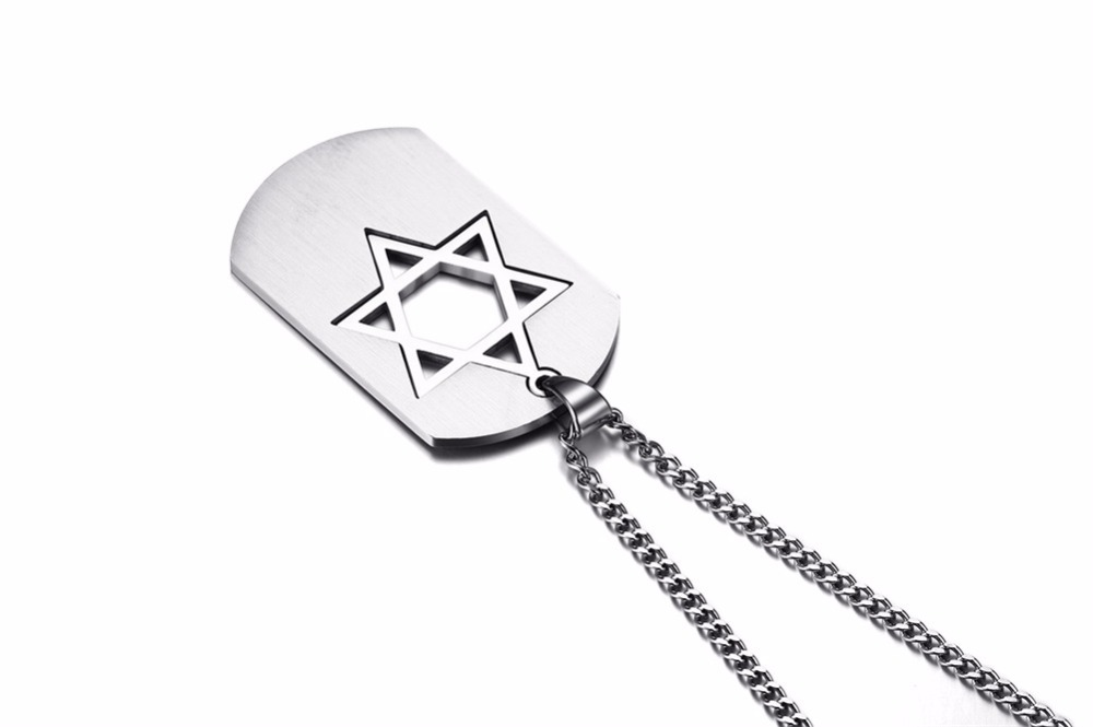 Israel Symbol Star of David Dog Tag Pendant Necklace for Men Jewelry silver 16
