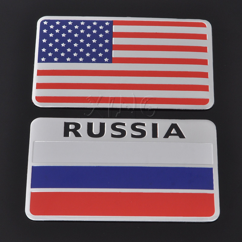 3D Car Stickers Aluminum Russia American Italy Flag Auto decals For Mercedes BMW Audi Ford Chevrolet Honda VW Toyota Car Styling(China)