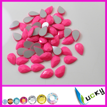 1440PCS 8*13mm teardrop shape neon pink color hotfix epoxy flatback pearl rhinestone perfect faceted look hotfix pearl