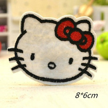 Hello Kitty WithRed Bow 8*6cm Badge Embroidered Iron-on Patches Garment Appliques DIY Accessory 5pcs/lot